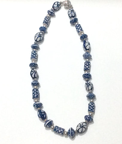 Necklace-Delft pattern hand painted porcelain and silver beads