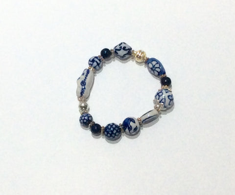 Bracelet-Delft like pattern hand painted porcelain with silver beads