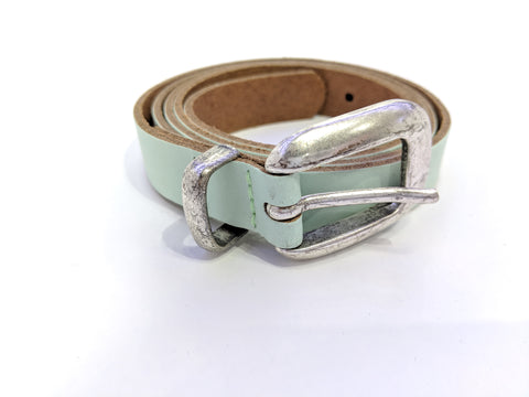 Mint colored leather belt