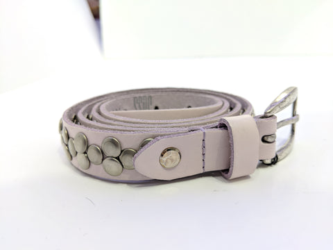 Leather belt with metal embellishments