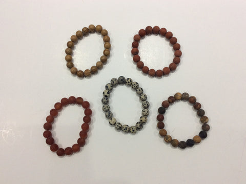 Bracelet-natural round stone beaded bracelet in a polished or matte finish