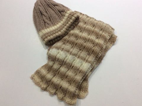 Hand knit variegated scarf and hat set in taupe and white