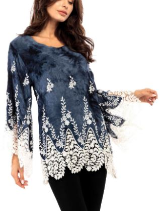 Wide Sleeve Lace Trimmed Tunic