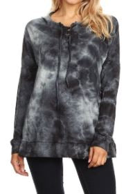 Lightweight Tie-Dyed Lace-up Hoodie Sweatshirt