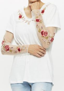 Embroidered Layered Top with Mesh Sleeves