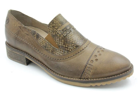 Reptile Print Trimmed Leather Oxford