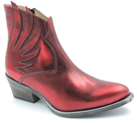 Metallic Red Winged Boots