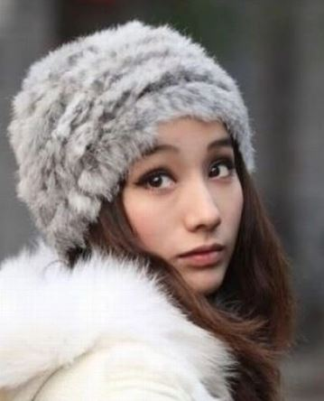 Rabbit Fur Knit Hat