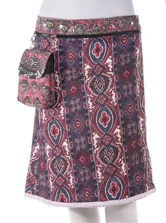 "Rayon Reversible Skirt with Detachable Pouch (sizes 0-12 and 21-22"" in length)"