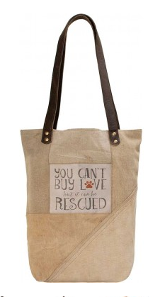 Rescue Love Large Recycled Military Tent Purse / Tote