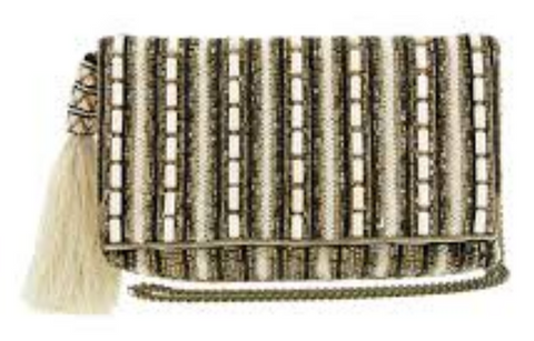Beaded Purse of gold, cream, black and pearl beading