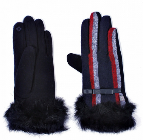 Rabbit Fur Cuff Striped Gloves