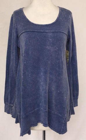 Demin Blue Long Sleeve Flared Top