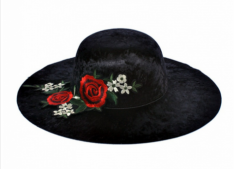 Rose Appliqued Wide Brimmed Hats