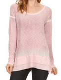 Soft Long Sleeve Knit Tunic Waffle Weave Top