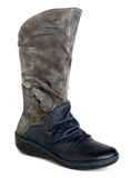 Slanted Half-Boot with Laser Leaf Ankle Details