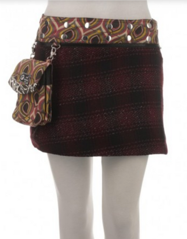 "Short Reversible Wool or Corduroy Skirt with Detachable Pouch (sizes 0-12; 14"" in length)"