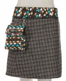 "Reversible wool or corduroy skirt with detachable pouch (sizes 10-20 and 20"" in length)"