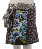"Reversible rayon skirt with detachable pouch (sizes 10-20 and 19""-20"" in length)"