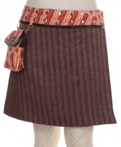 "Reversible wool or corduroy skirt with detachable pouch (sizes 0-12 and 19"" in length)"