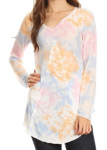 Spring Colored Tie Dyed V-Neck Top