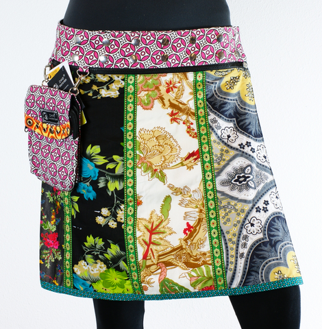 "Reversible 19"" Patchwork Cotton Skirt (sizes 0-12) with Detachable Pouch"