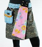 "Reversible rayon skirt with detachable pouch (sizes 0-12 and 18-19"" in length)"