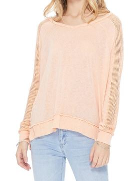 Fishnet Sleeve Tunic Knit Top