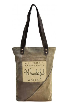 What a Wonderful World Recycled Military Large Tent Purse / Tote