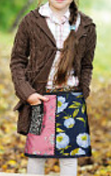 "Children's Reversible 13"" Length Patchwork Skirt with Detachable Pouch"