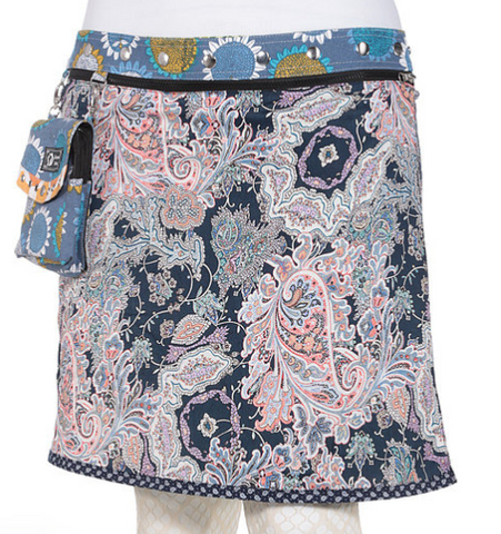 "Reversible rayon skirt with detachable purse (sizes 18-30 and 23"" in length)"