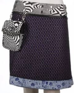 "Sari 19"" Length Reversible Skirt (sizes 0-12) with Detachable Pouch"