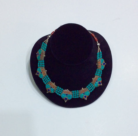 Necklace-Coral, Lapis, Silver and Turquoise