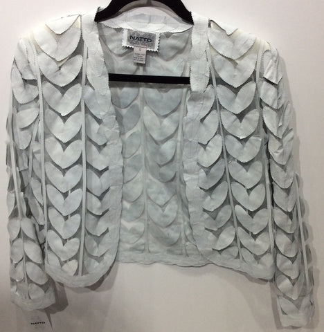 Laser cut leather jacket leaf pattern
