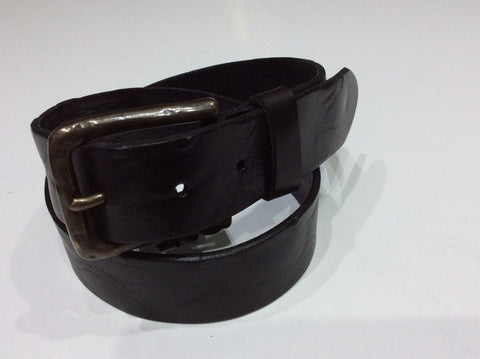 Belts-Wide Leather Black Belt Full Grained
