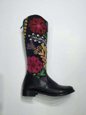 Specialty Gypsy style boot, leather toe with Suzani shaft