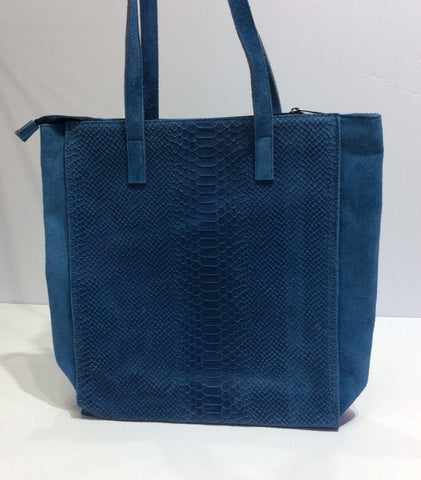 Crocodile Textured Italian Leather Shopper Bag