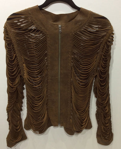 Full Shreaded Laser Cut Leather Lamb Skin Jacket