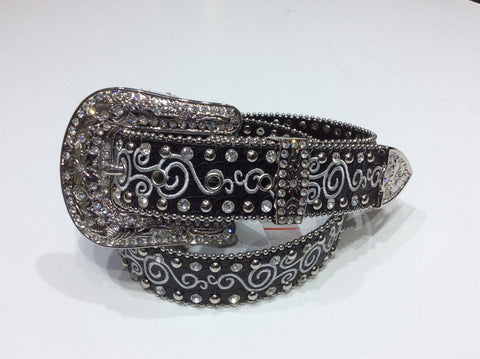 Belts-Wide Black Leather with Embroidery and Clear Crystal and Silver Stud Embellishment
