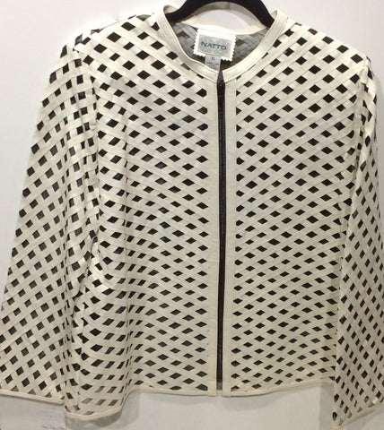 Diamond Pattern Laser-Cut Lambskin Jacket