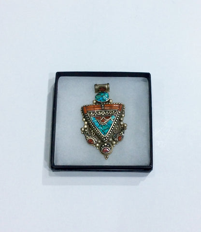 Pendent-coral and turquoise