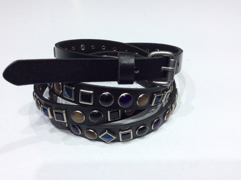 Belts-Narrow Width Double Wrap Leather Embellished with Colored Stones in Geometric Shapes