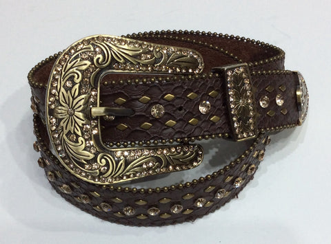 Belts-Wide Brown Leather with Bronze Crystal, Beading and Stud Embellishment