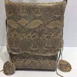Handcrafted Reptile Print Italian Leather Shoulder Bag