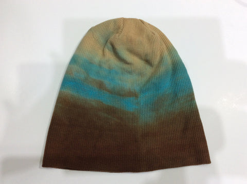 Knit beanie hat tri-colored