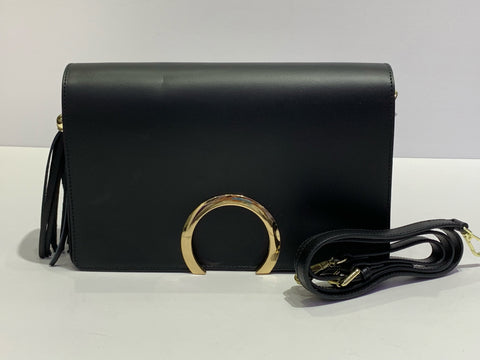 Smooth Italian Leather Circle Accented Purse
