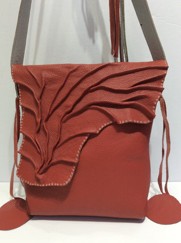 Handcrafted Leaf Design Italian Leather Shoulder Bag