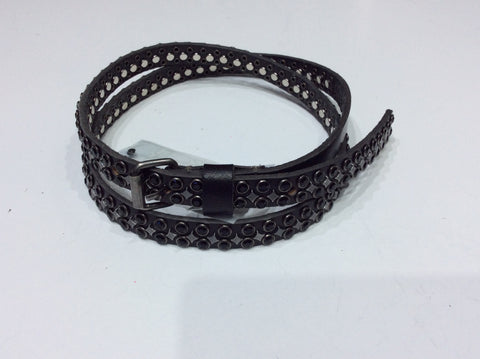 Belts-Narrow Width Black Leather with Black Crystals
