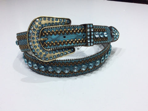 Belts-Wide Aqua Leather with Bronze Beading and Stud Embellishment along with Clear Aqua Crystals