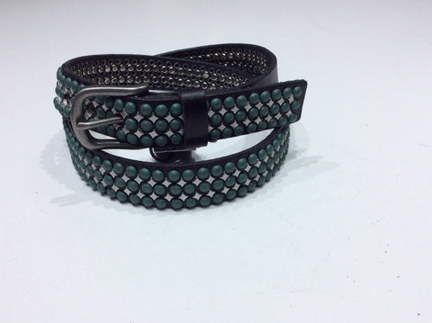 Belts-Medium Width Leather with Natural Green Stone and Silver Stud Embellishment